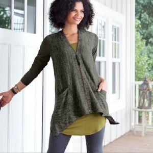 LOGO By Lori Goldstein Knit Cardigan Green Size XS